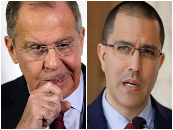 Russian Foreign Minister Sergey Lavrov (left) and Venezuelan Foreign Minister Jorge Arreaza (Right)