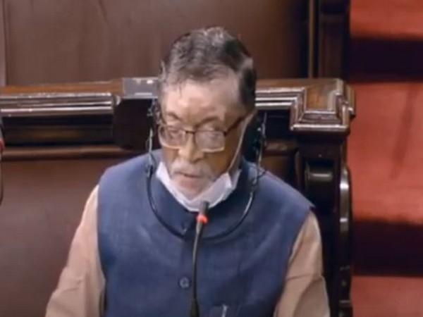 Labour Minister Santosh Kumar Gangwar speaking in the Rajya Sabha on Wednesday.