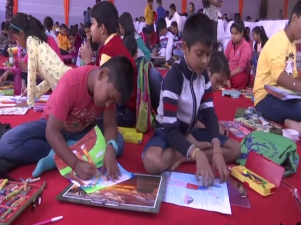A drawing competition taking place as a part of Lachit Divas celebrations in Assam on Sunday