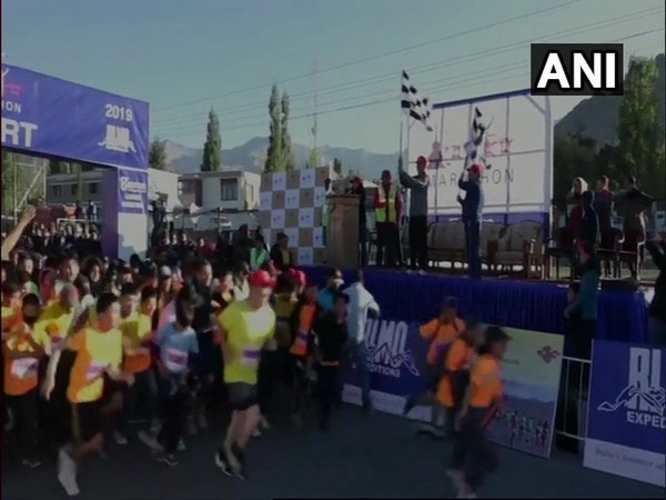 Participants in action during the 8th Ladakh Marathon in Leh.