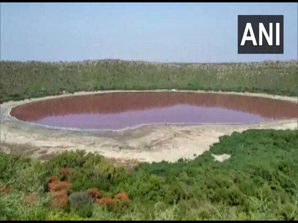 Water of a lake in Maharashtra turns red. Photo/ANI