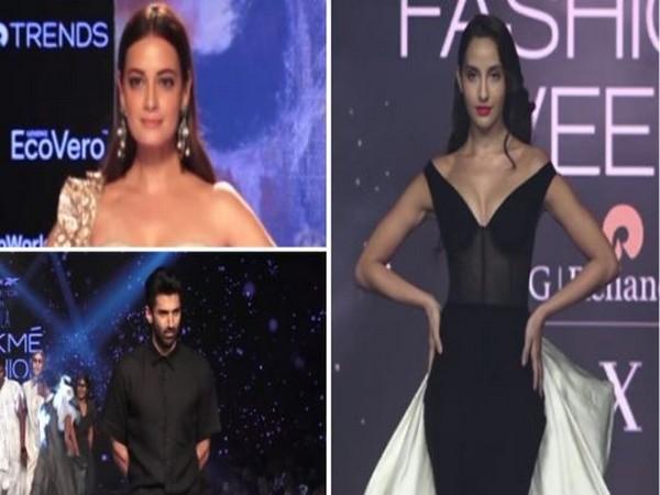 Dia Mirza, Aditya Roy Kapur and Nora Fatehi at Mumbai's Lakme Fashion Week (Photo/ANI)