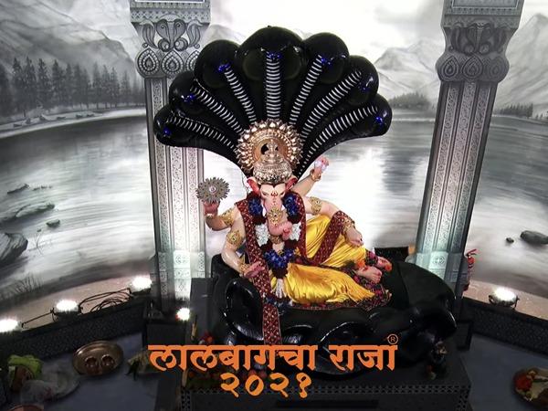 Ganesh idol installed at Lalbaugcha Raja Ganeshotsav Mandal. (Image courtesy: YouTube/ Lalbaugcha Raja)