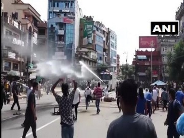 The clash between protesters and police in the Pulchowk area in Lalitpur, Nepal on Thursday.