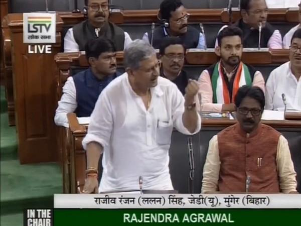 """JDU leader Rajiv Ranjan """"Lalan"""" Singh speaking in the Lok Sabha on Tuesday. (Picture courtesy: LSTV)"""