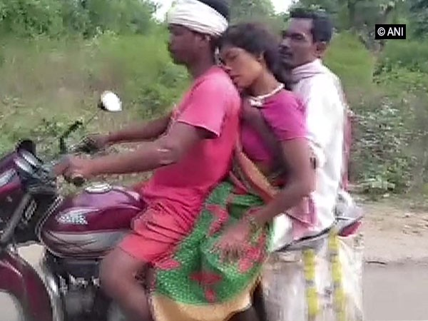 Pregnant woman being carried on a motorcycle  (Photo/ANI)