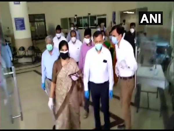 A Central health team from the Ministry of Health and Family welfare inspects Covid-19 response and management in Telangana on Monday. (Photo/ANI)