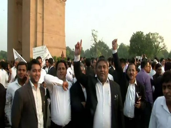 Supreme Court lawyers protest at India Gate on Monday.