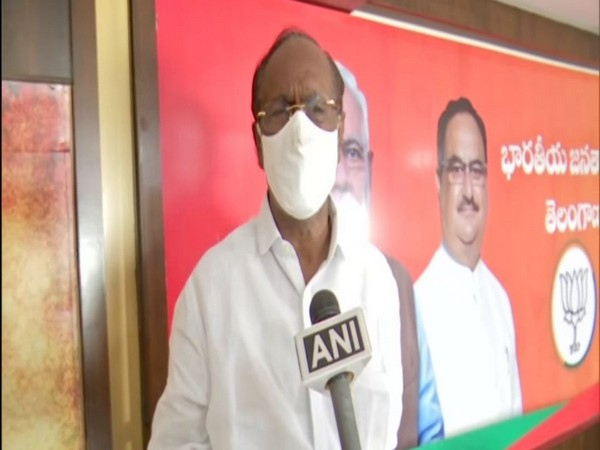 Former Telangana BJP president K Laxman speaking to ANI on Monday. (Photo/ANI)