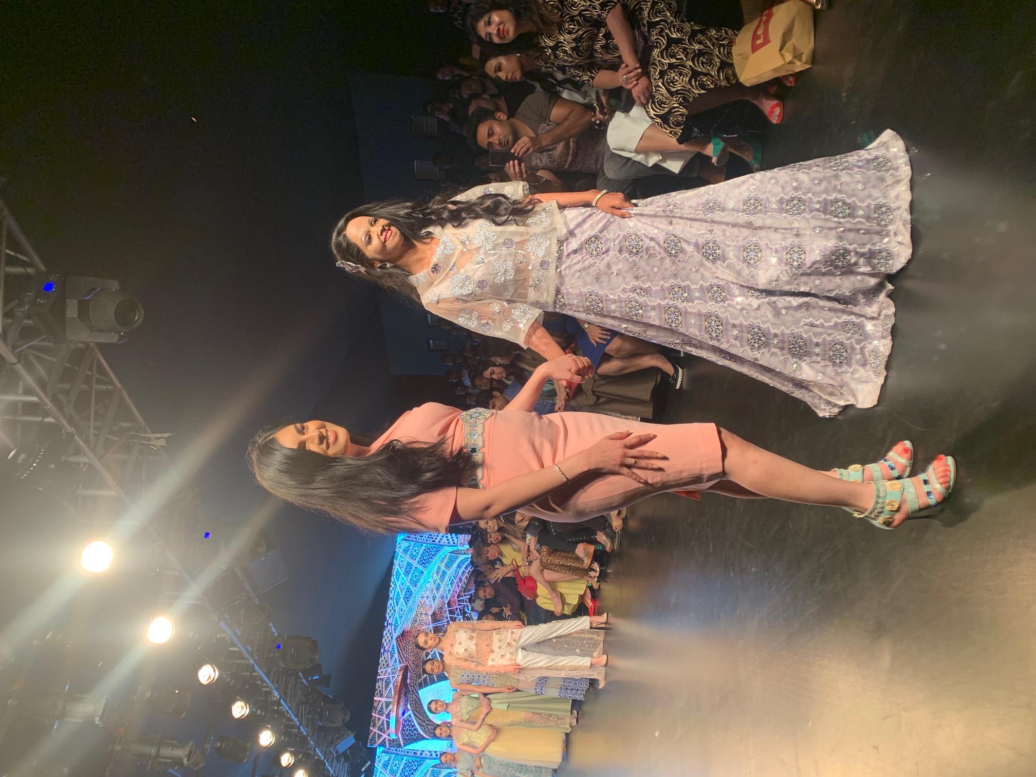 Laxmi Agarwal walking the ramp with designer Laxmi Shirali Sood in New Delhi on Friday.