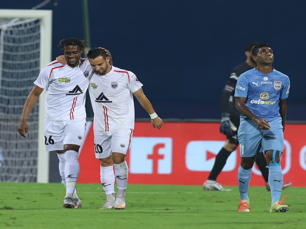 NorthEast United striker Deshorn Brown scored a brace against Mumbai City FC. (Photo/ ISL)