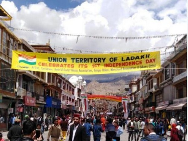 A banner seen on a street in Leh