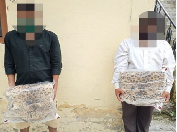 Two smugglers were arrested for possessing Leopard skin in Champawat district, Uttarakhand. (Photo/ANI)