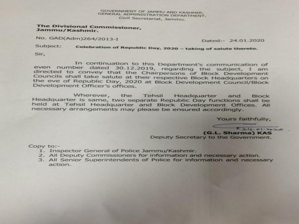 The circular issued by General Adminitration Department, J-K government, on Friday. Photo/ANI