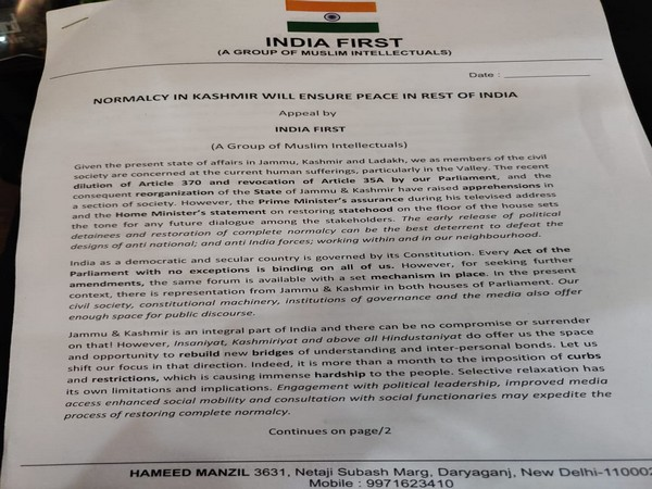 Letter written by India First group on Wednesday. Photo/ANI