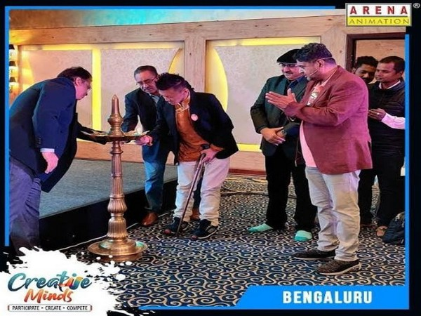Lighting the lamp ceremony at Creative Minds Bangalore 2019-2020.