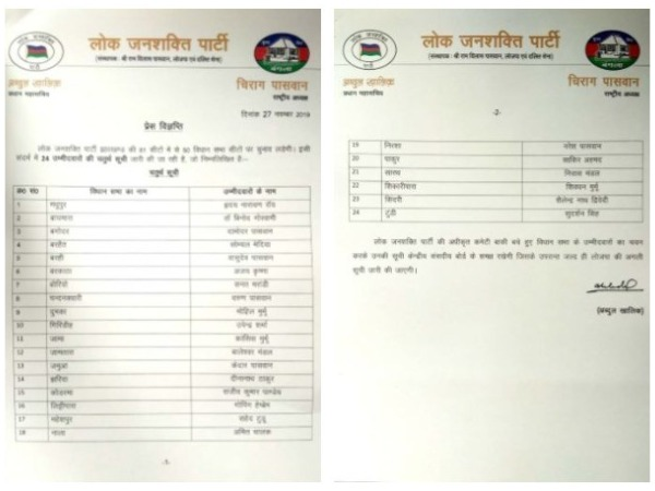 Lok Janshakti Party (LJP) list for 24 candidates