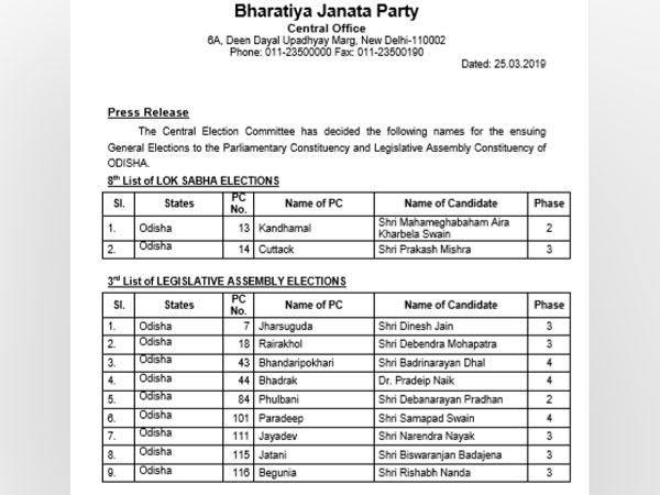 BJP on Monday released its eighth list for LS polls and third list of Legislative Assembly elections in Odisha. Photo/ANI