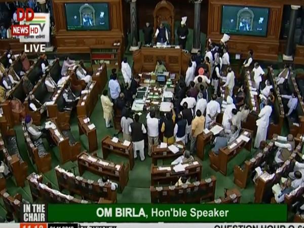 Opposition members raises slogans in Lok Sabha on Thursday. (Photo Credits: DD News)