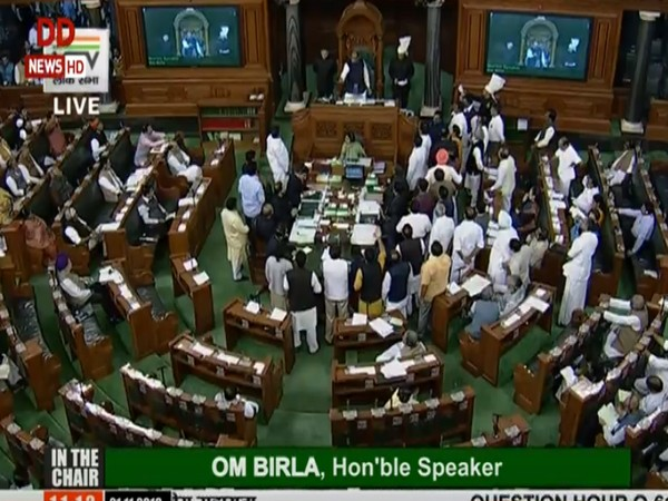 Opposition members raise slogans in the Lok Sabha on Thursday. (Photo Credits: DD News)