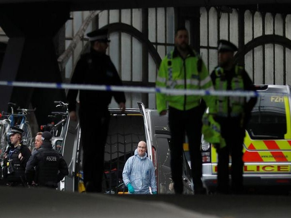 London Police during an investigation at Waterloo Station in Central London