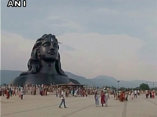 The 112 feet tall 'Adiyogi' Lord Shiva steel statue situated in Coimbatore at the Isha Yoga Centre.