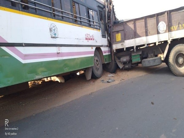 A TSTRC bus collided with a truck in Nalgonda on Wednesday. Photo/ANI