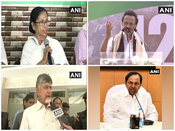 TMC chief Mamata Banerjee, DMK president MK Stalin, TDP chief N Chandrababu Naidu and TRS president K Chandrasekhar Rao (File photo)