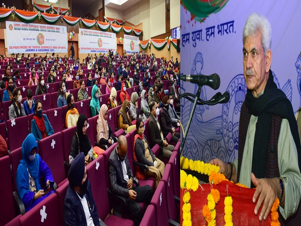 Lieutenant Governor, Manoj Sinha speaking at 24th National Youth Festival in Jammu. (Photo/ANI)