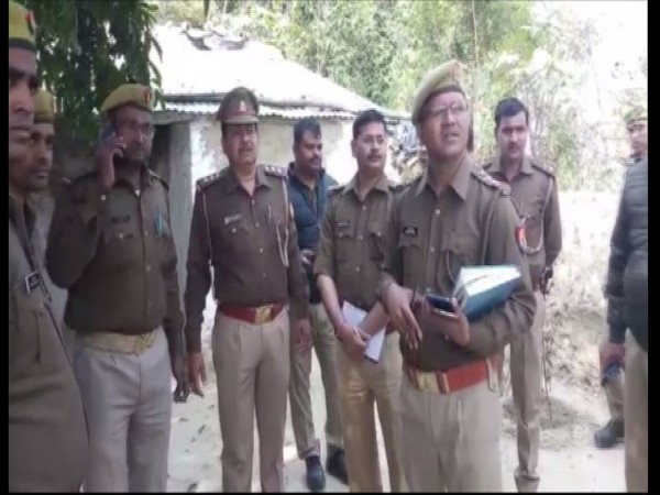 Police on the spot after a priest found dead under mysterious circumstances in Lucknow on Monday. Photo/ANI