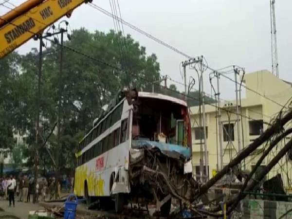 The incident happened in the Engineering College area when a bus collided with a lamp post on Thursday.