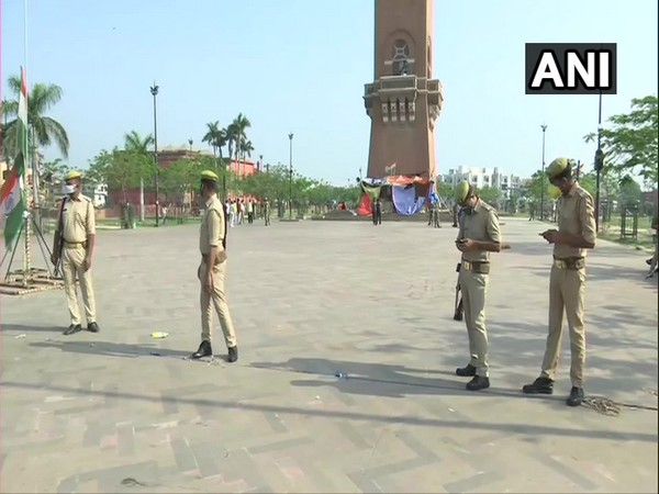 Visual from the empty anti-CAA protest site in Lucknow on Monday. Photo/ANI