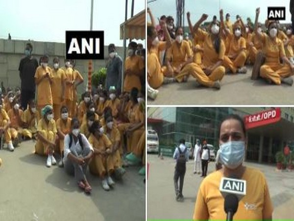 Nurses the management is forcing them to work in two-shift amid the COVID-19 outbreak. Photo/ANI