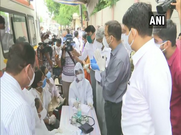 Lav Agarwal, Joint Secretary, Ministry of Health and Family Welfare visits Ghatlodia area, Gujarat  on Friday. (Photo/ANI)