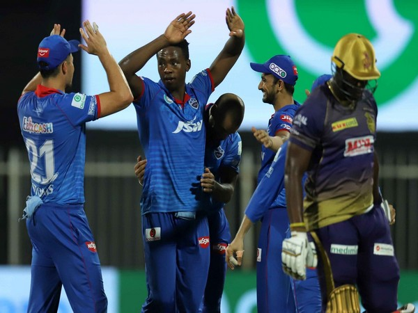 Rabada celebrates after dismissing Andre Russell. (Photo/ iplt20.com)