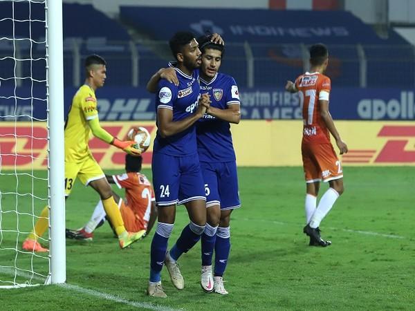 CFC's Rahim Ali celebrates after scoring his first goal of this ISL season (Image: ISL)