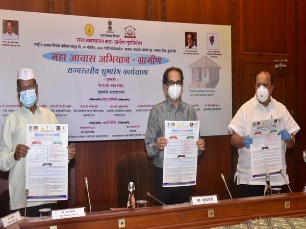 Maharashtra Chief Minister Uddhav Thackeray during the launch of a new rural housing project named Maha Awas Yojana-Gramin.