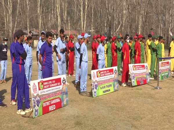 Visual of teams at J-K police 'play for peace' cricket tournament (Photo/ANI)