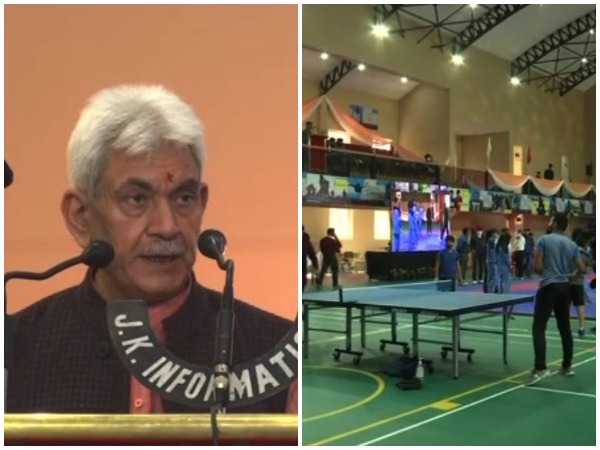 Jammu and Kashmir Lieutenant Governor, Manoj Sinha inaugurated a multi-sports indoor complex in Srinagar on Saturday (Photo/ANI)