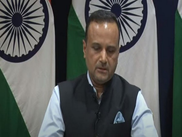 MEA spokesperson Anurag Srivastava speaking at a weekly press briefing on Thursday. Photo/ANI