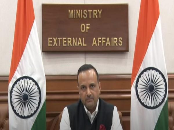 MEA spokesperson Anurag Srivastava speaking during virtual press briefing on Thursday. Photo/ANI