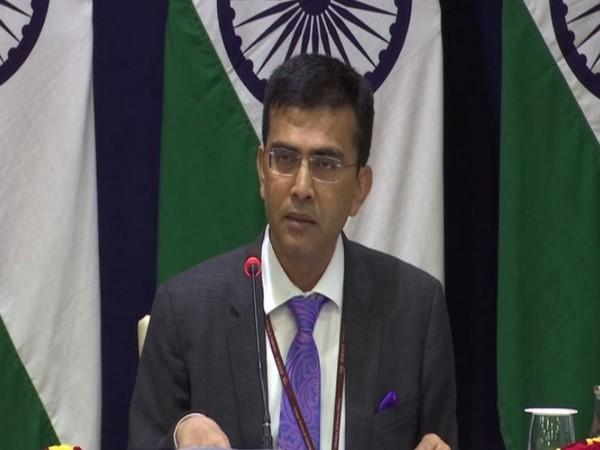 MEA spokesperson Raveesh Kumar addressing a press conference on Friday. Photo/ANI