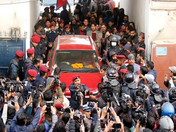 Nepal's former House Speaker Krishna Bahadur Mahara leaving the court