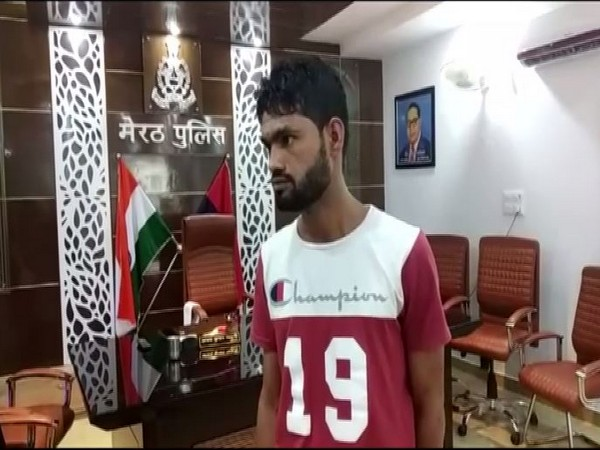 The accused, Shadab at the police station in Meerut on Wednesday. Photo/ANI
