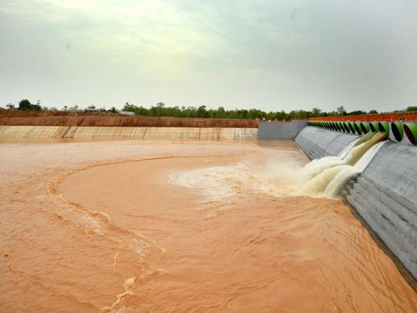 Visuals from Kaleswaram Lift Irrigation project on Friday. Photo/ANI