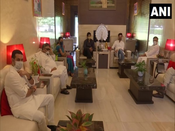 LJP's Parliamentary Board Bihar meeting chaired by party president Chirag Paswan at his residence in Delhi. (Photo/ANI)