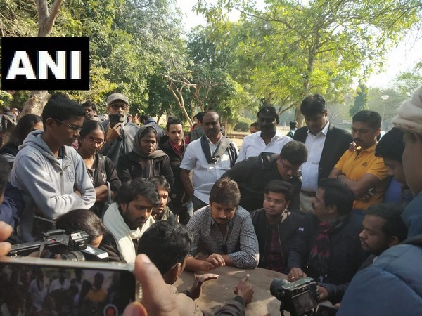 DMK youth wing leader Udhayanidhi Stalin interacts with students in Jawaharlal Nehru University on Sunday.