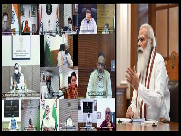 PM Narendra Modi chairing meeting of union council of ministers held through video conference on Friday.  (Photo/PIB)