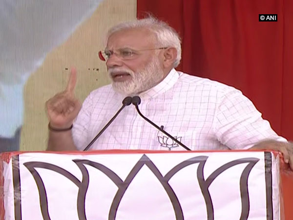 Prime Minister Narendra Modi speaking at an election rally in Kurnool, Andhra Pradesh, on Friday.