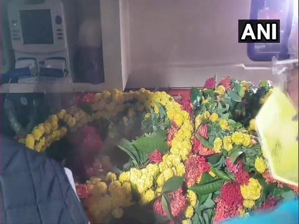 The mortal remains of senior Congress leader Ahmed Patel. (Photo/ANI)